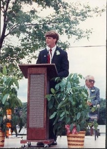 Patrick Kennedy, nephew of JFK, visited our school in 1990 to re-dedicate it at our 25th anniversary celebration. (1990)