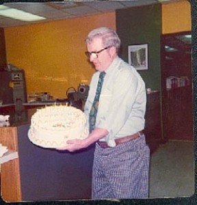 Mr. Willoughby, Kennedy's beloved first principal, celebrating Kennedy's 10th Anniversary (1975)